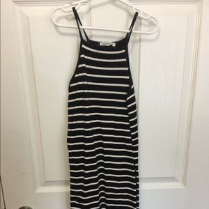Halter neck, black and white bodycon dress